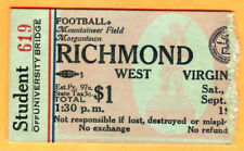 VINTAGE 9/19/68 WEST VIRGINIA VS. RICHMOND FOOTBALL TICKET STUB