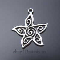 20 pieces 30mm charms star flower Tibetan Silver DIY Jewelry Making A7462