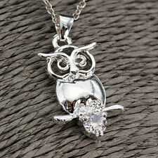 925 Silver 3D Have Rest Owl Pendant Crystal Cubic Zirconia Necklaces Chain Gifts