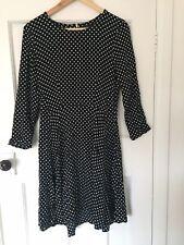Topshop Tall Black Polka Dot Skater Dress Size 10