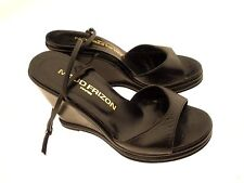 Maud Frizon Paris Women's Black Soft Leather Open Toe Wedge Sandals UK 4.5 US *6
