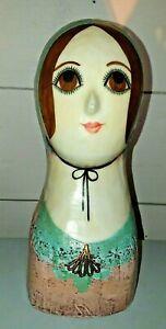 "1960s Signed Gemma Taccogna Paper Mache 10"" Head Bust  ~ So Pretty!!!"