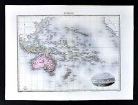 1880 Migeon Map - Oceania - Australia New Zealand Hawaii Tahiti Fiji Noumea View