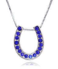 Lucky Horseshoe Pendant Necklace September Birthstone Royal Blue Crystal