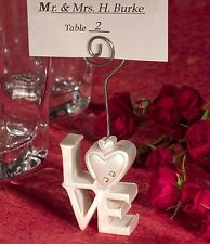 50 White LOVE Letter Wedding Anniversary Name Place Card Holder bomboniere Guest