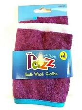 Razz Tub Time Fun Bath Wash Cloths Soft Terry Cloth Set of 3 Each (2-Pack) New