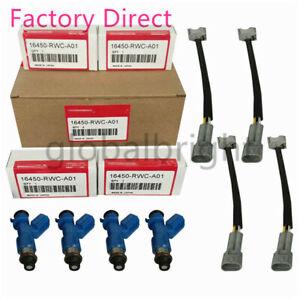 4X 16450-RWCA01 Fuel Injectors w/Plug & Play Adapters For Honda Acura RDX 410cc