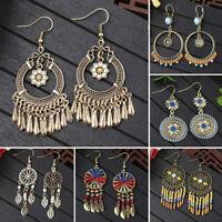 Women Summer Boho Earrings Long Tassel Fringe Drop Dangle Hook Ear Stud Jewelry