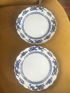 Booths 2x vintage china plates blue dragon 8.5 inch