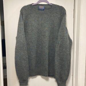 PENDLETON Men's Large Blue Greyish Washable Shetland Wool Crewneck Sweater