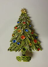 Vintage Signed ART Christmas Tree Snow Branch Enamel Color Rhinestone Pin Brooch