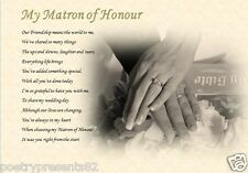 MATRON OF HONOUR personalised poem (Laminated Gift) maid of honour