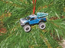 Jada 2017 Ford F-150 Raptor Blue Custom Christmas Ornament w/tree,snow R