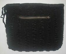 Antique  Victorian Edwardian Ruched Satin Muff Crown Zipper Black Hand Warmer
