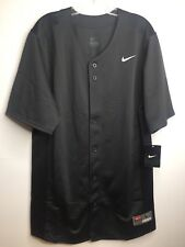 Nike Team Mens Gray Solid Short Sleeve Baseball Athletic Button Down Jersey Sz L