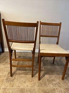 2 Vintage Leg o matic Chairs Folding RV Mid Century  Leg-o-matic