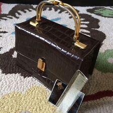 1940 Lewis Brown Vintage Leather Handbag/Clutch/Evening Bag/Purse w/ Mirror+Comb