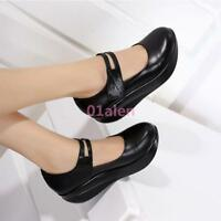 HotWomen Leather Mary Jane Casual Pumps Comfort Round Toe Wedge Heel Nurse Shoes