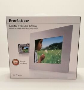 """Brookstone Digital Picture Show 8"""" Frame  Plays Music & Videos **TESTED**READ**"""