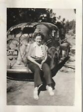 CAR LADY Woman GIRL Classic FOUND PHOTO bw FREE SHIPPING Original Snapshot 84 22
