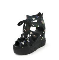F Womens Roman Peep Toe Platform High Wedge Heels Hollow Sandals Creeper Shoes