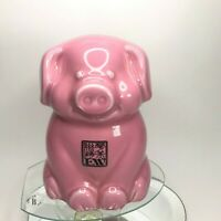 Vintage EW logo Ceramic Piggy Bank in Pink Standing Pig Adorable Coin Bank C8