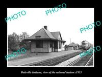 OLD POSTCARD SIZE PHOTO OF DALEVILLE INDIANA VIEW OF THE RAILROAD STATION 1955