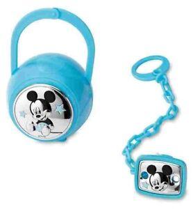 Disney Mickey Mouse Set Box e Spilla Porta Ciuccio con Catena B 1262