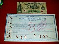 1864~ R-8 $5 Central Mining Company Note & 1897 Quincy Mining Company Scrip Cert