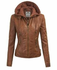 Johnny MBJ Womens Faux Leather Quilted Motorcycle Jacket with Hoodie XXL Camel