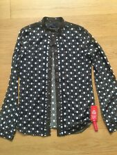 New with Deffects Diesel Black Gold Women Printed Shirt with Studs Size 38IT