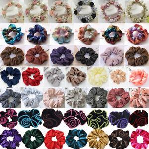 1-10pc Scrunchie Hair Scrunchy Ponytail Holder Tie Elastic Bun Ring Hair Bobbles