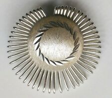 Vtg West Germany Scarf Clip Silvertone Etched Pattern Spikey Swirl Sunburst MCM