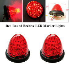 2PCS 12/24V Red Beehive LED Marker Lights Clearance Truck Trailer Showing Lights
