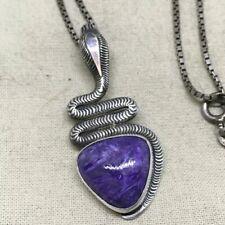 Sterling Silver Sugilite Snake Necklace Signed
