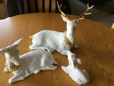 Three Piece Porcelain Deer Family By Galleria Decor As Is Condition