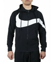 FELPA NIKE UOMO AR3084-010 FULL ZIP CON CAPPUCCIO NERO BLACK HYBRID FT STATEMENT