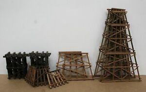 Lot of 12 HO wood trestles craftsman built variety