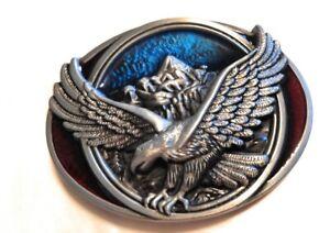 * Classic Soaring EAGLE AMERICAN BELT BUCKLE Silver blue Maroon Full Metal USA