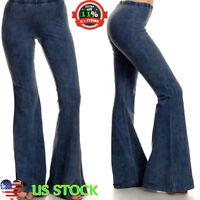 Women Skinny Flare Denim Jeans Retro Bell Bottom Wide Leg Pants Trousers US 8-14