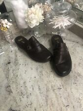 Clarks Collection Leather Brown Slip On Mules In Size 11W