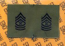 USA Enlisted SERGEANT MAJOR SGM E-9 OD Green & Black rank patch set