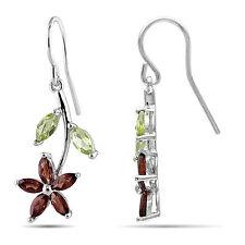 Amour Sterling Silver Multi-gemstone Flower Earrings