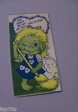 Vtg Valentine Card Cereal Candy? Box Advertising Premium Troll Doll Broom UNUSED