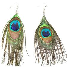 M Fashion Women Peacock Feather Earrings Dangle Bohemian Drop Long Jewelry Gift