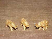 "VINTAGE 3 MINI SOLID BRASS 2 1/4"" LONG ELEPHANTS"
