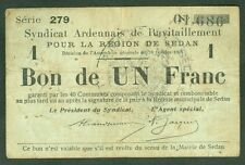 NECESSITE 1 FRANC SYNDIC ARDENNAIS RAVITAILLEMENT REGION SEDAN ETAT: TB Lot 964