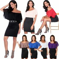 Womens Ladies Batwing Chiffon Mini Pencil Dress Oversized Top Office Party Skirt