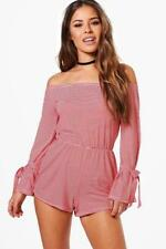NEW BNWT BOOHOO PETITE EMMA OFF THE SHOULDER TIE SLEEVE PLAYSUIT SIZE 12 EUR 40