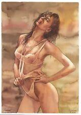 original drawing A3 282SA art by samovar woman nude girl watercolor Signed 2020